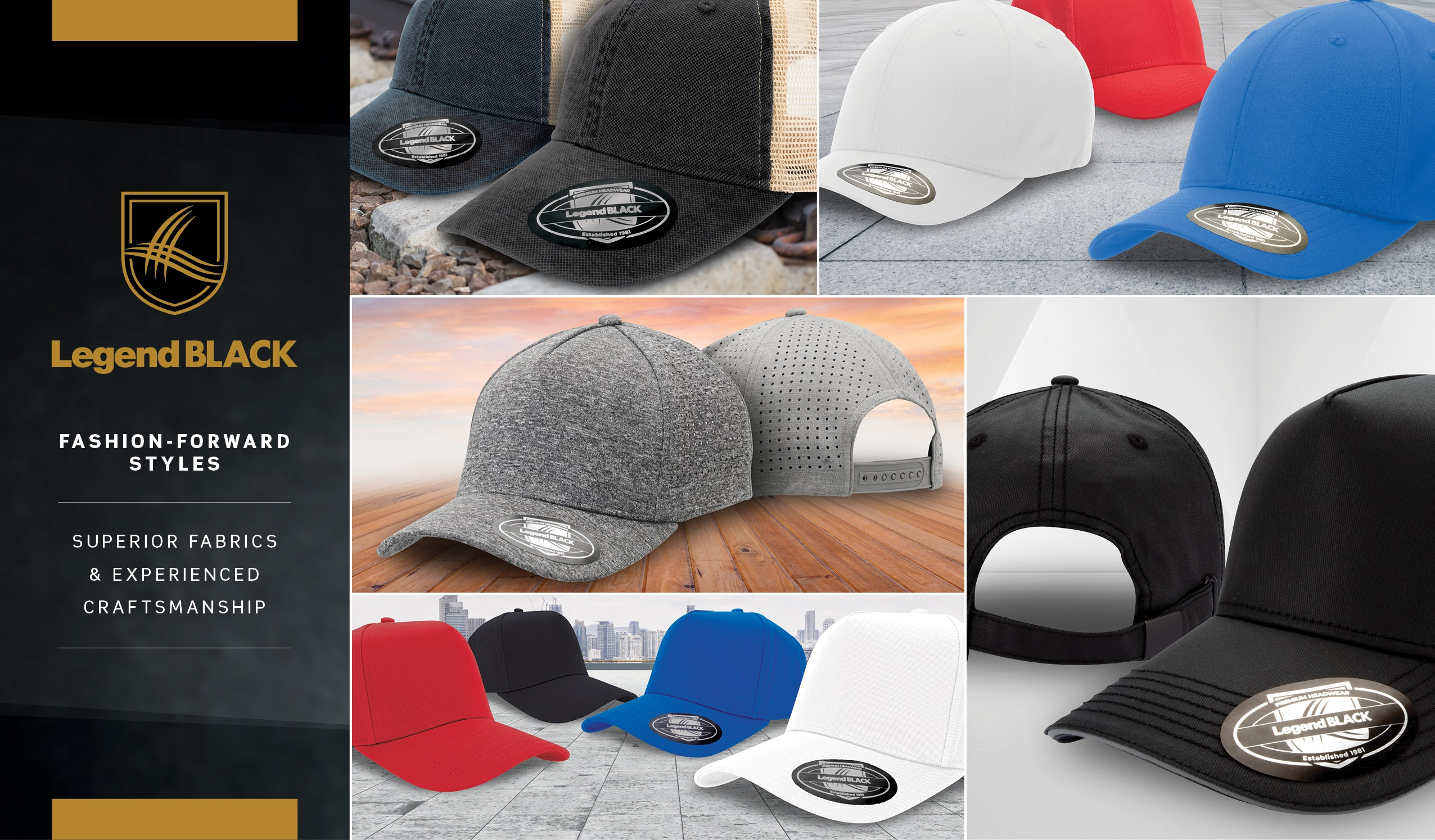 Legend Black Headwear premium caps