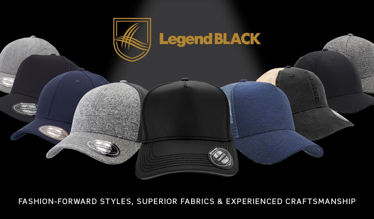 Legend Black Headwear premium caps